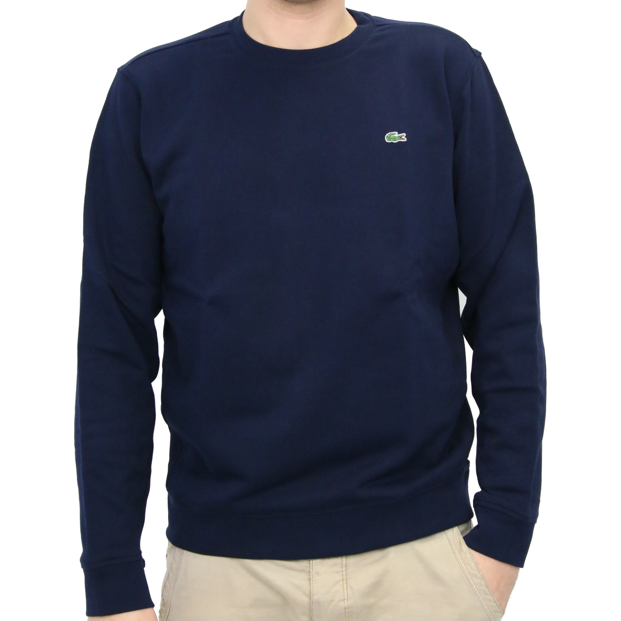 lacoste pullover sweatshirt rundhals baumwolle herren ah7417 ebay. Black Bedroom Furniture Sets. Home Design Ideas
