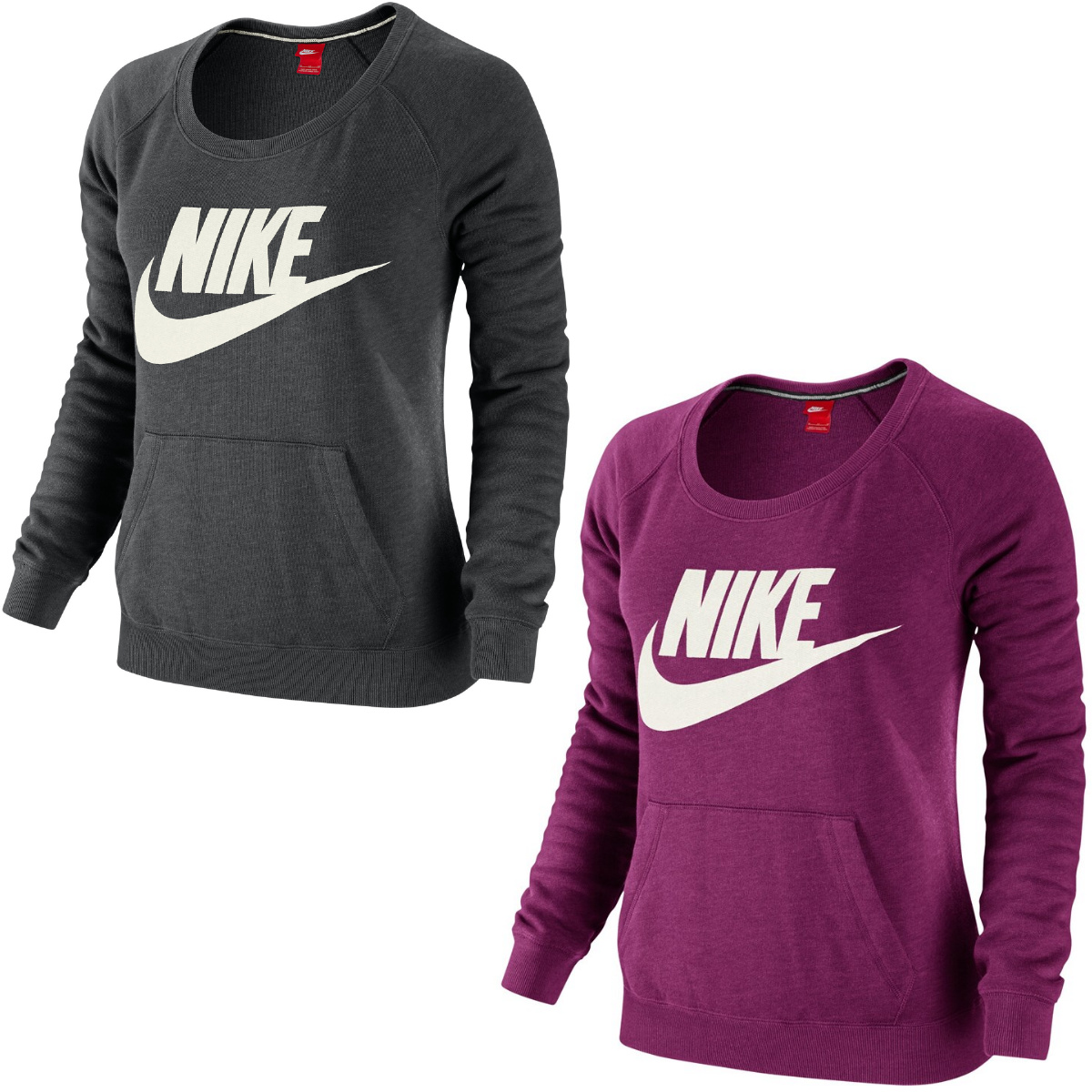 nike rally crew logo shirt sweatshirt pullover sportshirt damen grau lila ebay. Black Bedroom Furniture Sets. Home Design Ideas