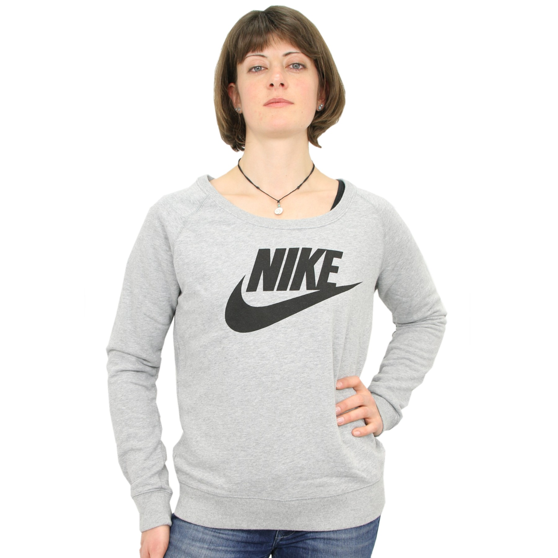 nike rally crew sweatshirt shirt pullover damen grau ebay. Black Bedroom Furniture Sets. Home Design Ideas