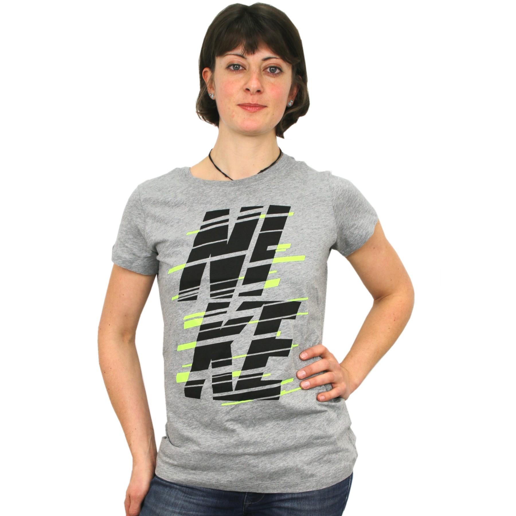 nike tee stack t shirt sportshirt fitnessshirt kurzam damen grau schwarz ebay. Black Bedroom Furniture Sets. Home Design Ideas