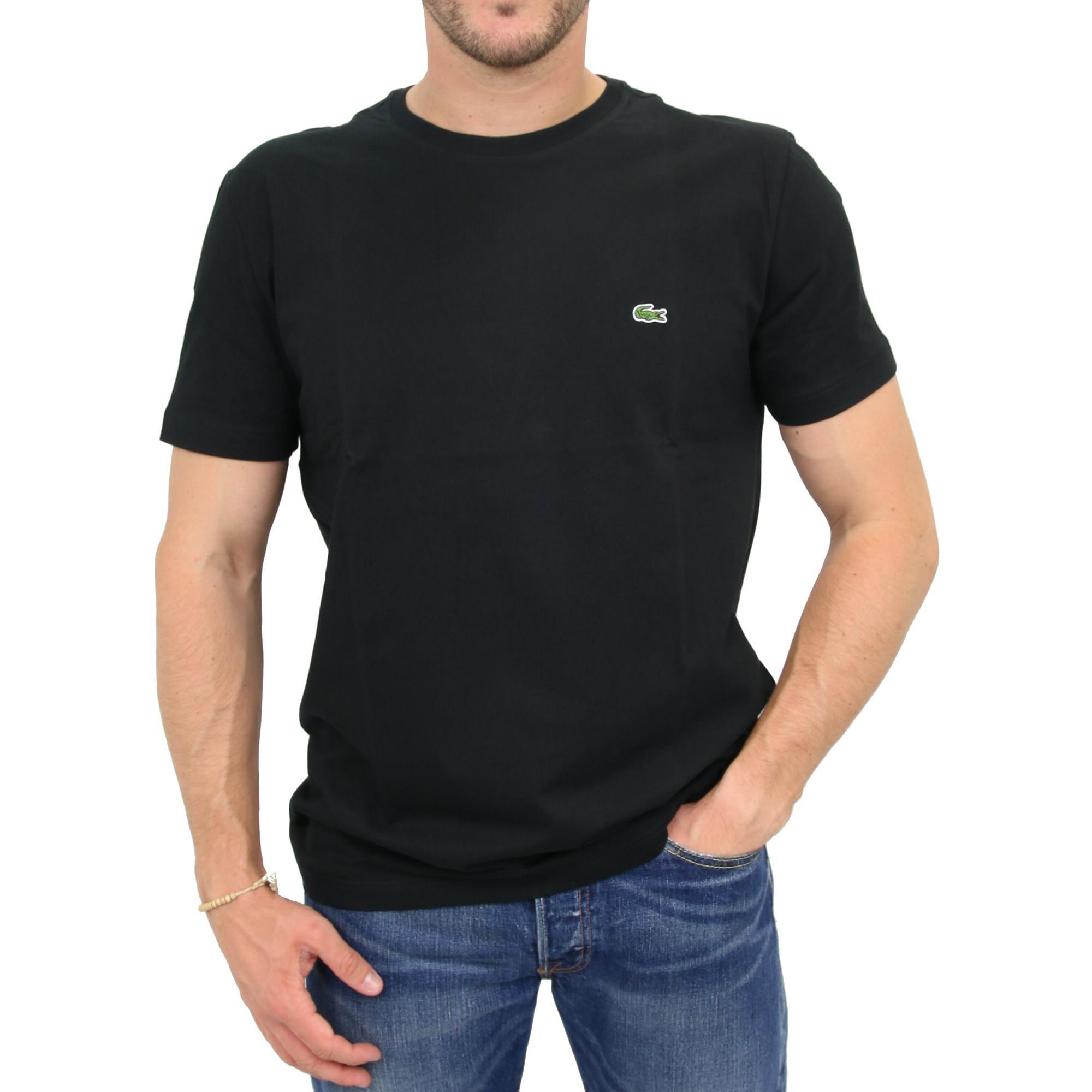 Lacoste-Rundhals-T-Shirt-Shirt-Kurzarm-Herren-diverse-Farben