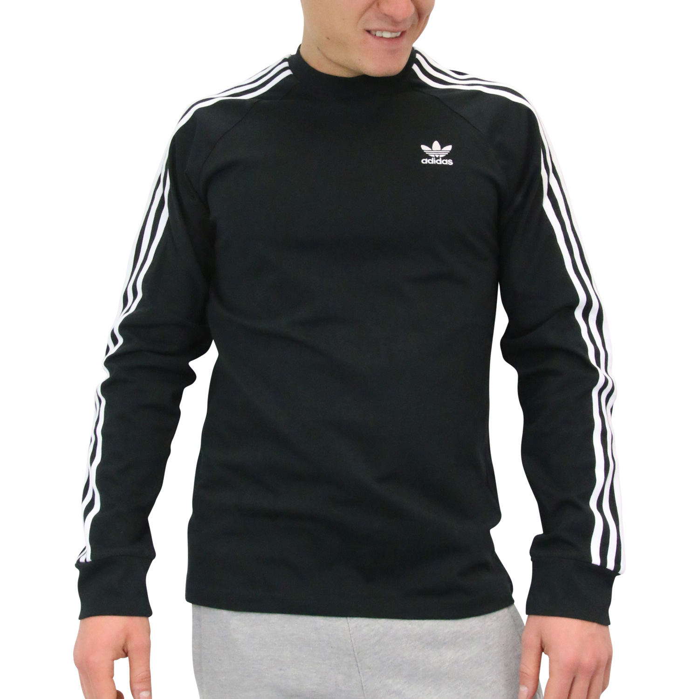 Details about Adidas Originals 3 Stripe Long Sleeve T Shirt Longsleeve Sport Shirt Mens Black show original title