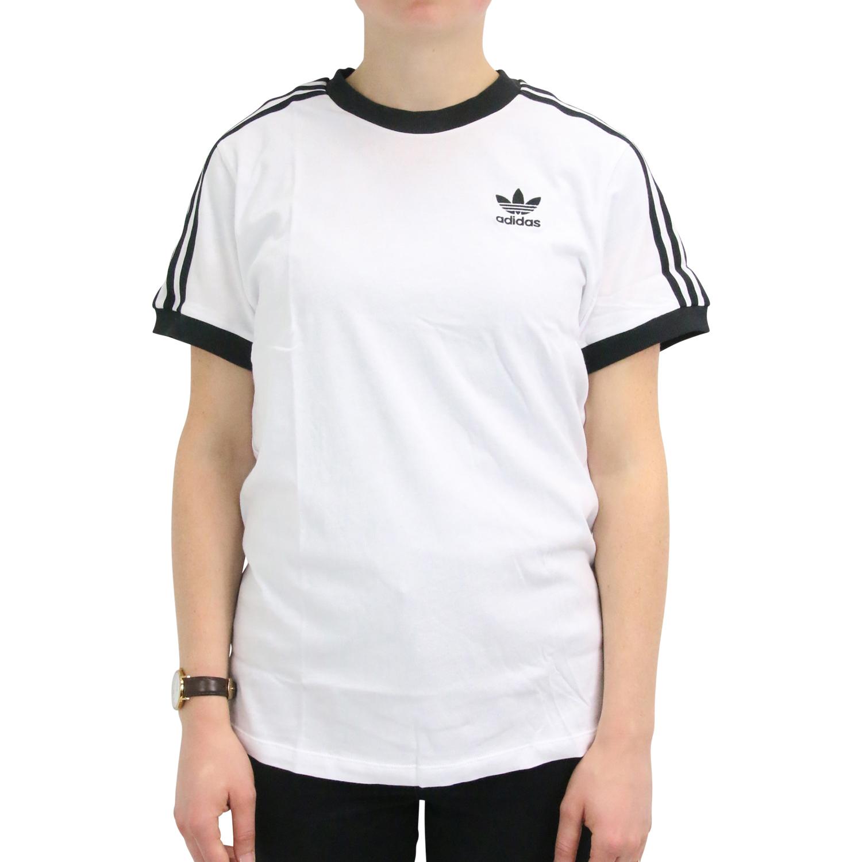 Details zu adidas Originals 3 Streifen T Shirt Shirt Kurzarm Damen Weiß DH3188