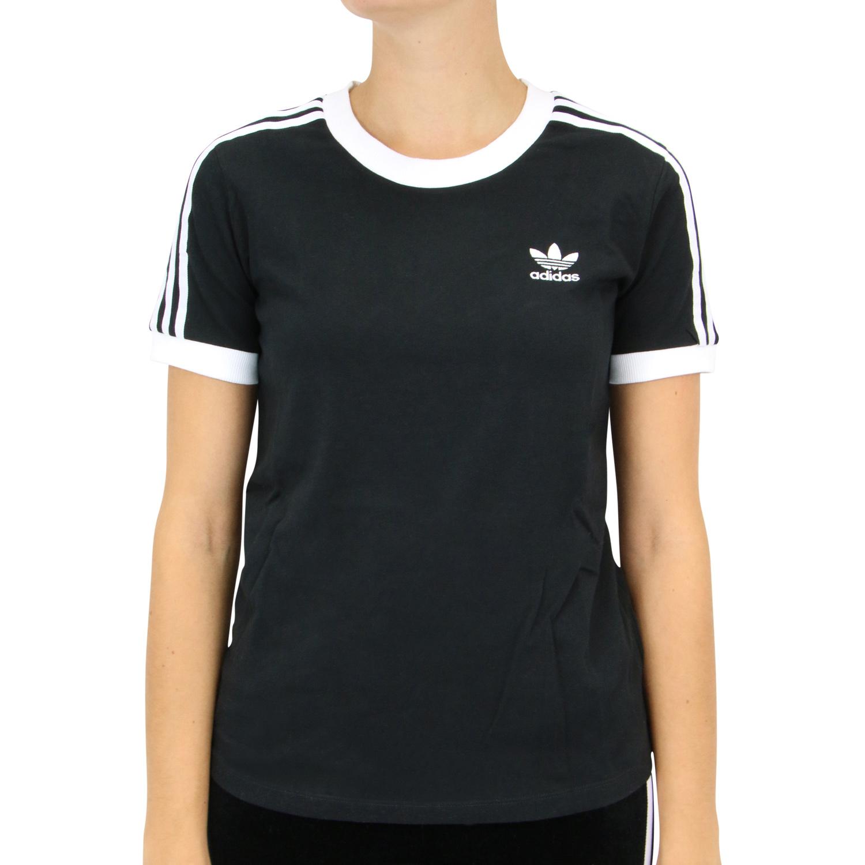 Details zu adidas Originals 3 Streifen T Shirt Damen Schwarz ED7482