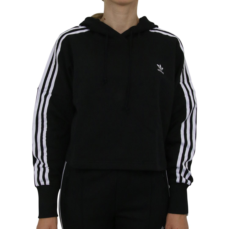 Details zu Adidas Originals Cropped Hoodie kurzer Schnitt Kapuzenpulli Damen ED7554 Schwarz