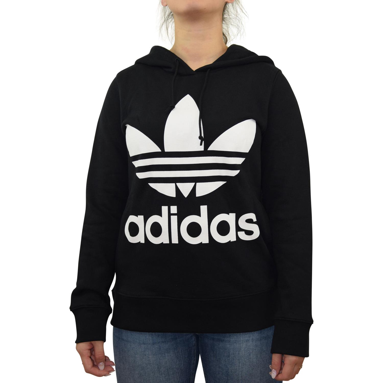 Details zu Adidas Originals Trefoil Hoody Pullover Kapuzenpulli Damen CE2408 Schwarz