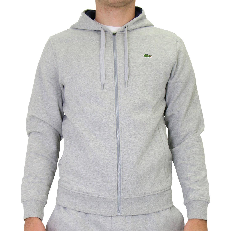 lacoste herren fleecejacke mit kapuze jacke sweatjacke hoodie sh7609 hellgrau ebay. Black Bedroom Furniture Sets. Home Design Ideas
