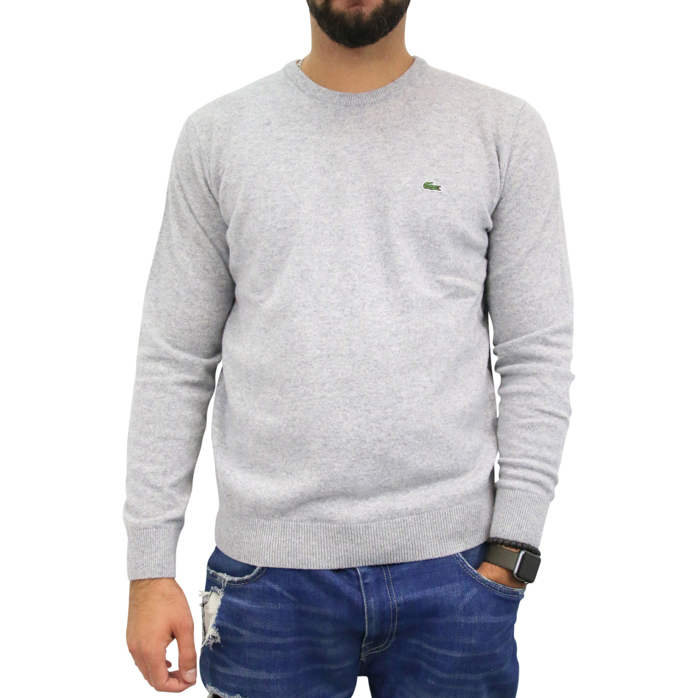 lacoste wollpullover pullover strickpullover rundhals wolle herren grau ebay. Black Bedroom Furniture Sets. Home Design Ideas