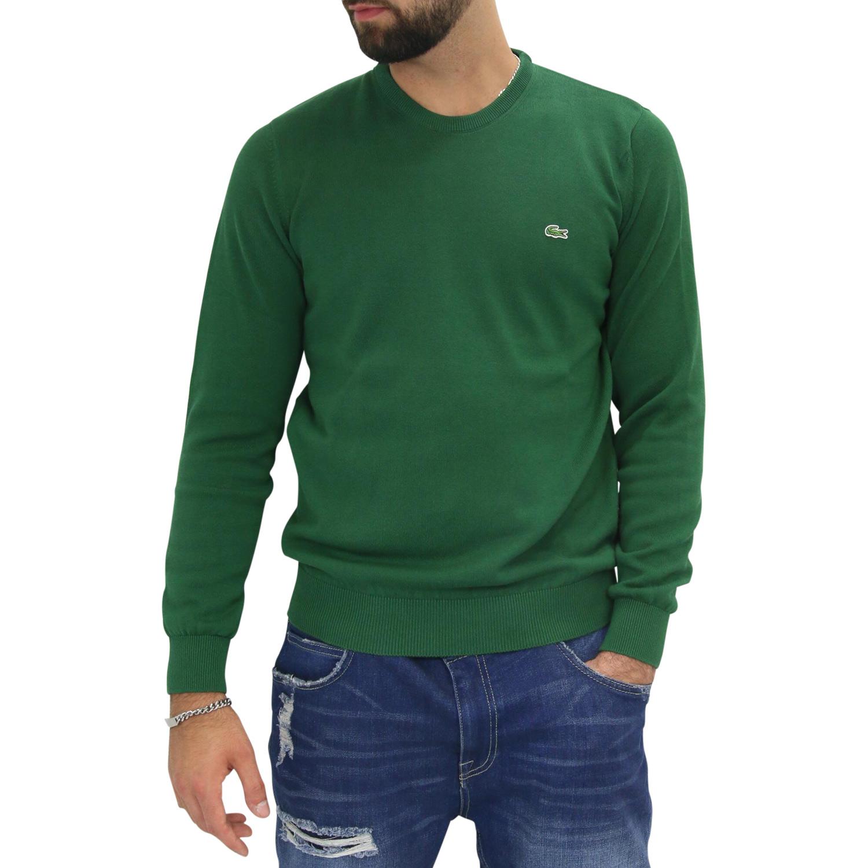 innovative design 6d409 3b1e3 Details zu Lacoste Rundhalspullover Pullover Baumwoller Herren AH4888 132  Grün