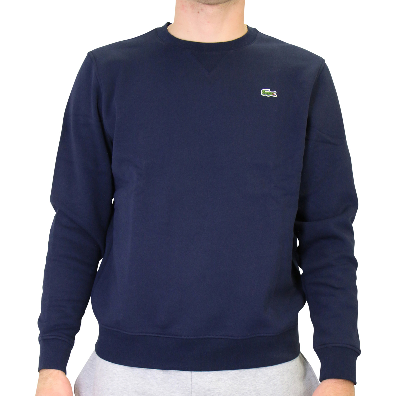 the latest ddecf 853fb Details about Lacoste Sweatshirt Jumper Round Neck Cotton Mens Dark Blue  sh7613 166- show original title