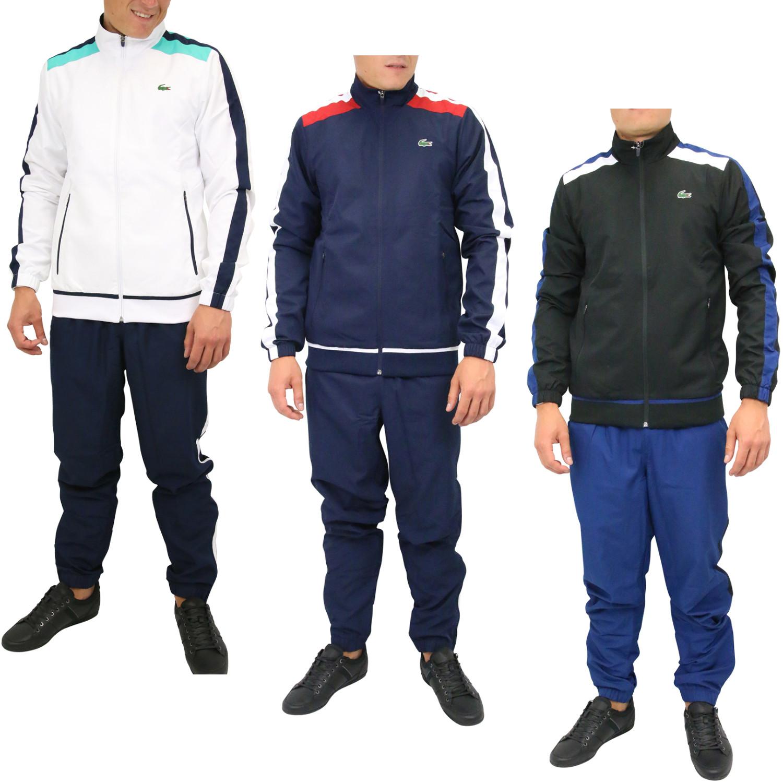 fb464dc546 Das Bild wird geladen Lacoste-Tennis-Trainingsanzug-Sportanzug-Jogginganzug- Herren-WH9518