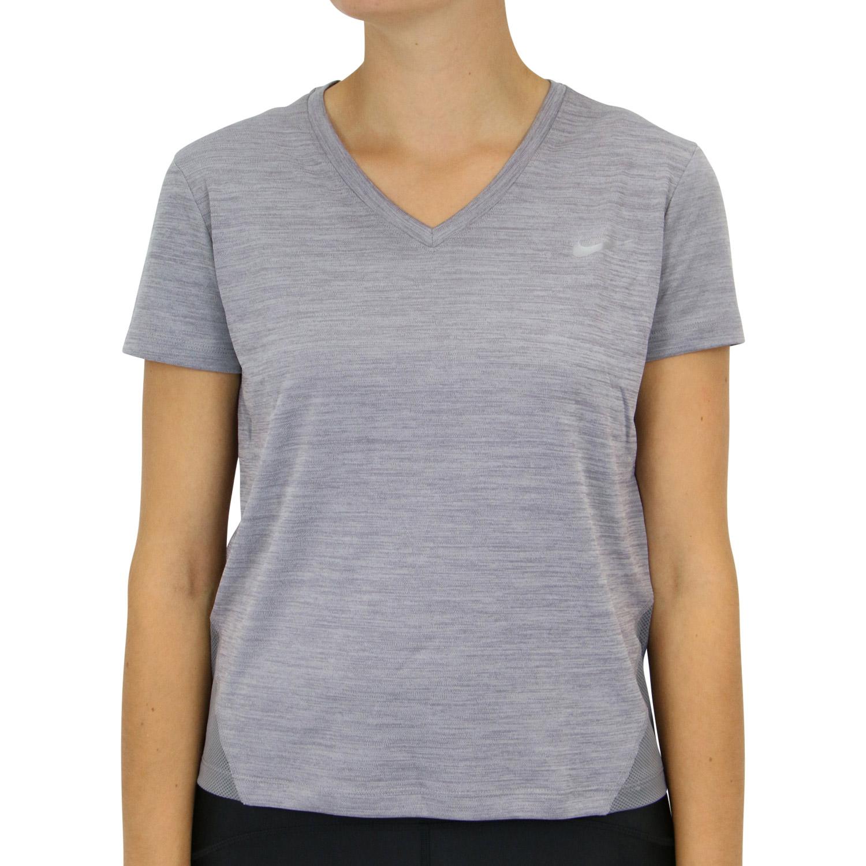 Details zu Nike Miler Top V Neck T Shirt Laufshirt Gunsmoke Damen AT6756 056