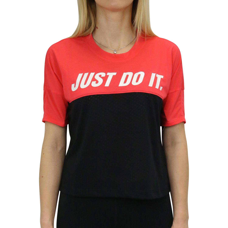 Details zu Nike Tailwind Kurzarm Laufoberteil T Shirt Shirt Fitness Damen Rot AJ8662 850
