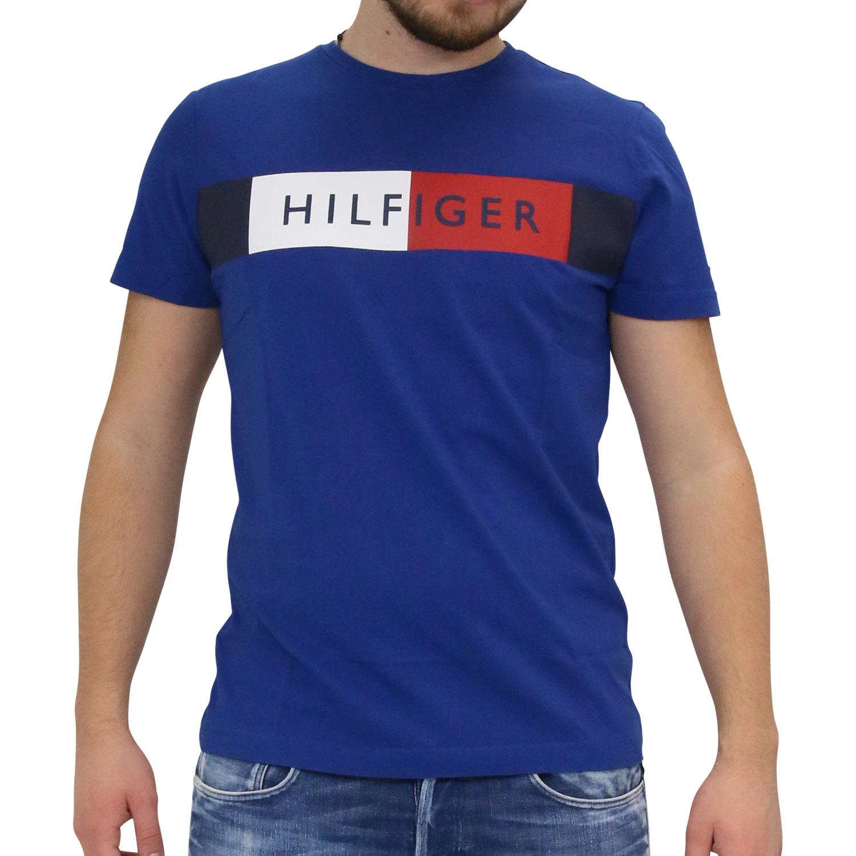 Details zu Tommy Hilfiger T Shirt Tee Shirt Kurzarm Herren Flag Blau MW0MW09827 431